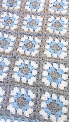 Gray and Blue Baby Blanket Crochet Handmade Car by littledarlynns