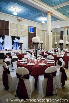 Heritage Hall wedding with red, white and black decor. Planning by Eventful Planners and decor by Niche Event Stylists.
