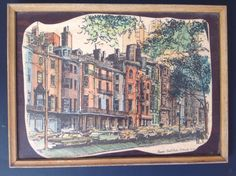 Vintage pen and ink and watercolor drawing by Robert Kennedy. Drawing of Beacon…