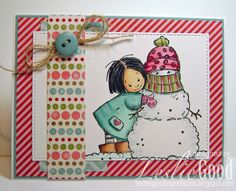 Leslie's Good Impressions: Bellariffic Friday - Sketch 22. stamped Valerie with Memento Tuxedo black ink onto Bella'sBestest paper and coloured her and her snowman with copics.  The cardbase is Baja Breeze and the pattern paper is MME Be Merry.  I added a button with a twine bow behind and of course glitter on the snow and the snowman.