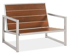 The Montego outdoor lounge chair features a striking mix of solid ipe and hand-welded, outdoor-grade stainless steel, making it as durable as it is eye-catching. Attractive from every angle, Montego looks and feels substantial thanks to wide planks of wood that appear to float in the frame without visible screws or nails. Over time, the ipe will age to a rich grey color, enhancing this modern chair's material mix.