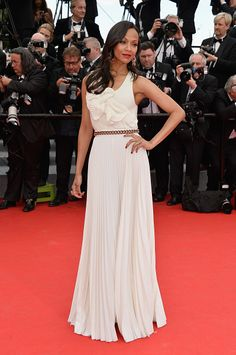 Zoe Saldana Photos - Actress Zoe Saldana attends the Opening ceremony and the 'Grace of Monaco' Premiere during the Annual Cannes Film Festival on May 2014 in Cannes, France. - 'Grace of Monaco' Premieres at Cannes Zoe Saldana, Festival Outfits, Festival Fashion, Festival Style, Celebrity Red Carpet, Celebrity Style, Celebrity Dresses, Victoria Beckham, Cannes Film Festival 2014