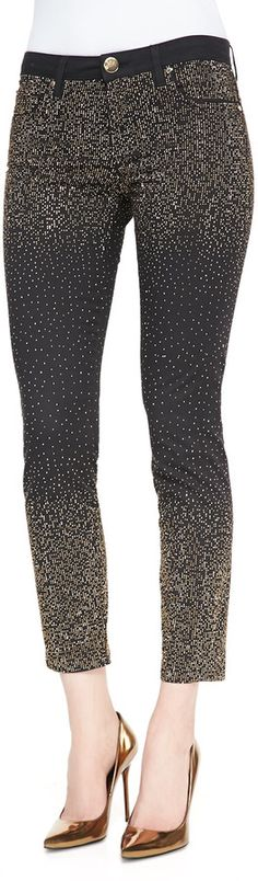 Versace Metallic Dot-Embellished Stretch Jeans, Nero Black on shopstyle.com