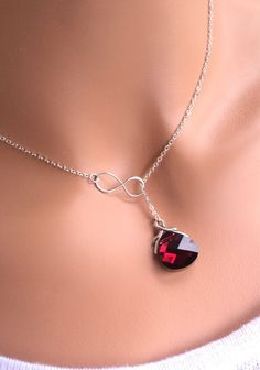 Red Ruby and Infinity sterling silver Swarovski by RoyalGoldGifts