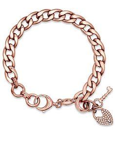 Fossil Bracelet, Rose Gold-Tone Pave Lock Charm Bracelet - Fashion Jewelry - Jewelry & Watches - Macy's $48