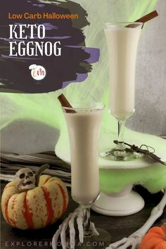 Easy and delicious classic keto eggnog is perfect for a spooky Halloween low carb drink. Enjoy it by yourself or with your closest ghouls. Holiday Drinks, Party Food And Drinks, Low Carb Drinks, Keto Holiday, Eggnog Recipe, Drink Recipes, Keto Recipes, Summer Sangria, Wheat Free Recipes