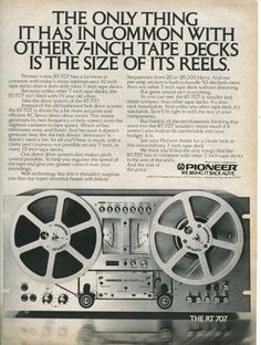 1981 PIONEER Reel to Reel Tape Deck RT 707 Audio Original B Retro Vintage AD | eBay