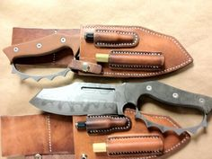 Two Sniper Bladeworks BBM knives in custom Lifters Leather sheaths.