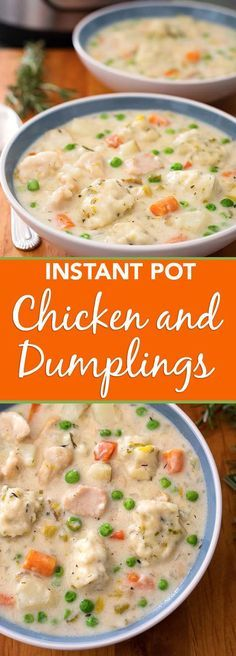 Instant Pot Chicken and Dumplings are a delicious comfort food you make in your electric pressure cooker. Choose your favorite type of dumpling and make this wonderful one-pot meal in about an hour! simplyhappyfoodie.com #instantpotrecipes #instantpotchickenanddumplings #pressurecookerrecipes #pressurecookerchickenanddumplings