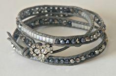Grey Leather Triple Wrap Beaded Bracelet  23 by CJFuccyDesigns, $25.00
