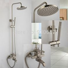 94.40$  Watch here - http://ali476.worldwells.pw/go.php?t=32250512023 - Brushed Nickel Bathroom Shower Set Faucet Single Lever Single Hole Mixer Tap 94.40$