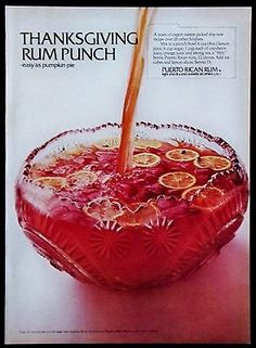Vintage 1969 Puerto Rican Rum Thanksgiving Punch Magazine Ad | eBay