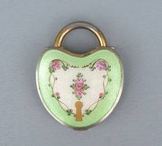 Antique Rare Green Enamel Guilloche Padlock by EarlyBirdJewels, $140.00