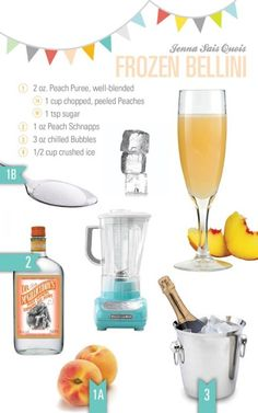 Frozen Bellini is an Italian cocktail, made from sparkling wines and peach puree. Go through this article and gather information on how to make Frozen Bellini. Party Drinks, Cocktail Drinks, Fun Drinks, Cocktail Recipes, Margarita Recipes, Alcoholic Beverages, Cold Drinks, Drink Recipes, Salads