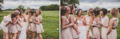 Ashley Taylor's Rustic Farm Wedding Part One, Lawrence, KS Wedding Photographers » Gracenote Photography peach, teal, turquoise, salmon, photos, wedding, farm, barn, rustic, bouquets, bridesmaids, bride, belts, neutrals, tans, monochromatic, outdoor, birdcage veil, wedding party, bridal party