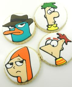 Phineas, Ferb, Candace and Perry the Platypus cookies - from @Paula Kelly-Bourque {VanillaBeanBaker}