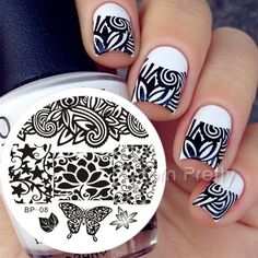 31 Designs Available Born Pretty Stamping Plate Lace Starfish & Shell Negative Space Leaves Flowers Animals Nail Template Nails Opi, Gradient Nails, Stiletto Nails, Nail Nail, Coffin Nails, Acrylic Nails, Nail Art Stamping Plates, Nail Plate, Stickers