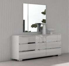 Hera Double Chest Of Drawers In White High Gloss With Optional Mirror Bedroom Furniturebedroom