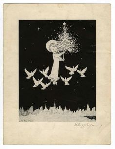 Lovely black and white Christmas card by premier illustrator, Willy - Available at Amazing Comics Auction Christmas Angels, White Christmas, Christmas Cards, Ink Pen Drawings, Art Nouveau, Fairy Tales, How To Draw Hands, Auction, Sketches