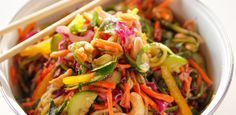Get Lighter Asian Noodle Salad Recipe from Food Network Gourmet Salad, Summertime Salads, Persian Cucumber, Crab Salad, Asian Noodles, Noodle Salad, Ree Drummond, Fresh Ginger, Vegetarian Recipes