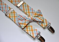 Bowtie and Suspenders in Orange and Blue Plaid by MeandMatilda