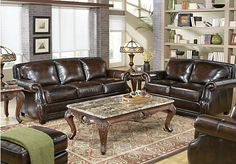 Shop for a Warrick Leather 5 Pc Living Room at Rooms To Go. Find Leather Living Room Sets that will look great in your home and complement the rest of your furniture.