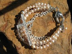 Champagne Pearls Multi Strand Bracelet with by fleurdesignz, $32.00