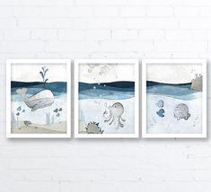 Items similar to Nautical Nursery Art Prints - Whale Nursery Decor, Childrens Room Art Nautical Wall Decor, Ocean Art for Kids Room, Blue Baby Fish on Etsy Sea Nursery, Whale Nursery, Nautical Nursery Decor, Nautical Wall Decor, Nursery Wall Art, Nautical Baby, Navy Nursery, Kids Room Art, Art Wall Kids