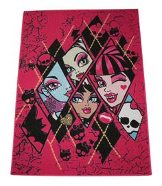 """Amazon.com - Monster High 'Checkers' Children's Bedroom Rug 3ft 1"""" X 4ft 4"""" MH01 Washable in Pink with Non-slip Backing - Monster High Bedroom Decor"""