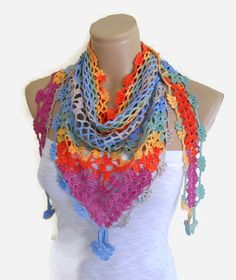 Crocheted Multi Color Lace Scarf Holiday by likeknitting on Etsy Tricot,  Écharpe En Crochet, 69c6bf579fe
