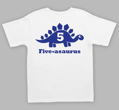 Five Birthday Tshirt 5 Year Old Shirt Dinosaur by WallerTees