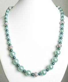 Aqua & erinite pearl necklace