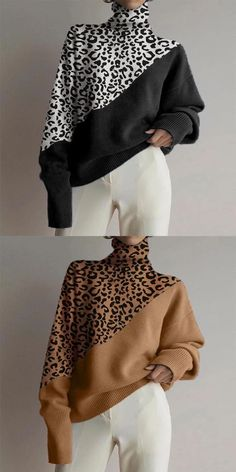 Winter Mode Outfits, Winter Fashion Outfits, Look Fashion, Autumn Fashion, Womens Fashion, Cheap Fashion, Fashion 2020, Fashion Trends, Leopard Pullover