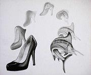 Transformation Drawings - Transition- Stiletto to Swordfish by Savannah Stone