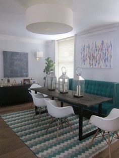 Modern Dining Chairs And 2 Pendants Over Dining Table . Small Dining Room Table Sets Home Furniture Design. Home and Family Narrow Dining Tables, Dining Sofa, Small Dining, Dining Room Chairs, Eames Chairs, High Back Dining Bench, Dining Rooms, Lounge Chairs, Table For Small Space