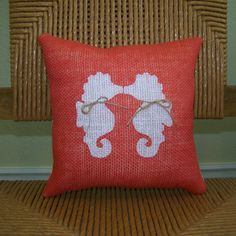 Seahorse pillow Ocean Coral Burlap Beach by KelleysCollections