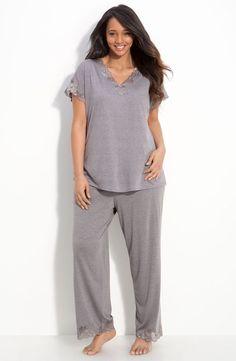 Main Image - Natori 'Zen Floral' Pajamas (Plus Size) Plus Size Pyjamas, Pijama Plus Size, Plus Size Sleepwear, Best Plus Size Clothing, Plus Size Outfits, Plus Size Fashion, Plus Size Tops, Plus Size Women, Full Figure Fashion
