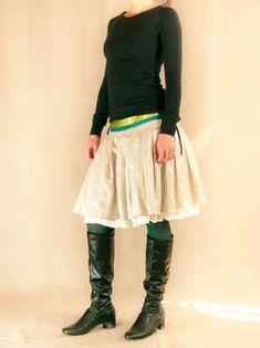 Lněná sukně se spodničkou