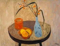 Still Life with Blue Vase c.1954 by William Gillies (Scottish 1898–1973