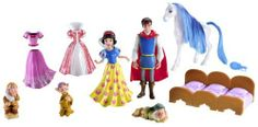 Disney Princess Favorite Moments Snow White Deluxe Gift Set by Mattel. $30.00. From the Manufacturer                Disney Princess Favorite Moments Deluxe Gift Set: A fairy tale come true. Features one doll, dress-up fashions, accessories, and more. Includes several play pieces in a castle-like carry case.                                    Product Description                Favorite Moments Snow White Deluxe Gift Set. Has a Royal Horse and 3 dwarfs to love and her ...