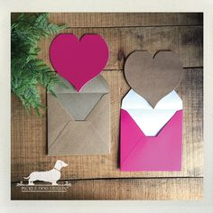 CLEARANCE Pink Heart. Folded Note Cards Set of by PickleDogDesign