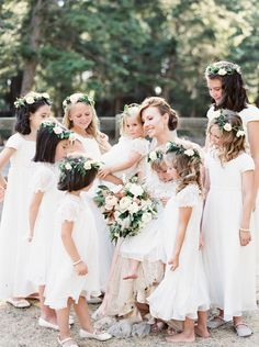 Flower girl dresses and flower crowns | Montana Ranch Wedding by Orange Photographie