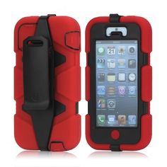 Wholesale Griffin Survivor Military Duty Belt Clip Holster Case for iPhone 5 - Black / Red - iPhone 5 Hard Cases