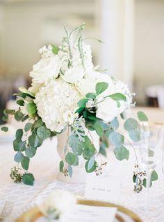 #hydrangea, #centerpiece  Photography: Coco Tran - cocotran.com  Read More: http://www.stylemepretty.com/2014/10/27/elegant-summer-black-tie-wedding-in-atherton/
