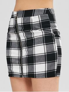 ea4911ef89 ZAFUL Zip Through Checked Pelmet Mini Skirt - BLACK M Mini Skirts, Zip, Mini