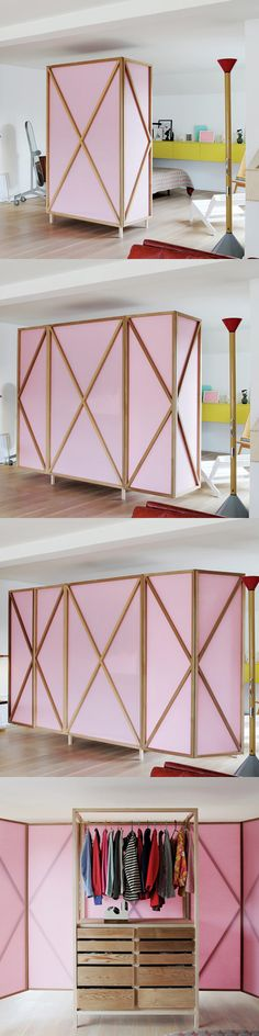 This pink wardrobe becomes a room divider! A pink wardrobe and room divider! The wardrobe itself has a white metal frame with closet rod and reclaimed wood drawers.