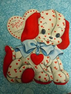 """""""Baby's First Valentine's Day"""" flocked card, early Hallmark,  Copyright by Hall Brothers with patent dates that indicate the late 1940s."""