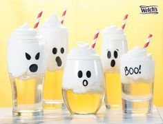 Spooky Sparkling Floats made with Welch's Sparkling White Grape & whipped cream. Fun Halloween drink for kids