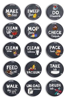"""Thanks for the kind words! ★★★★★ """"Perfect size chore magnets for my son and daughter."""" alittlebrokenblog #chores"""