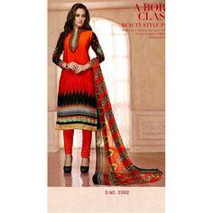 Eid Special Designer Orange Color French Crepe Churidar Suit-587-21002( OFB-587 )Karishma